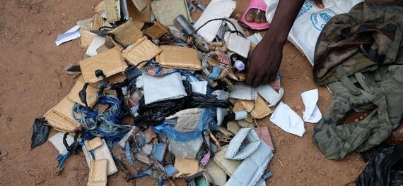 The bags of amulets that children released from the Anti-Balaka group brought to the transit centre. ©Unicef CAR/2015/Le Du