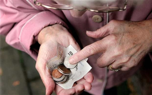 Elderly-lady counting money