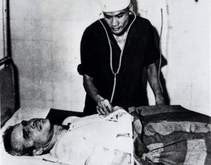 John McCain is administered to at a Hanoi, Vietnam hospital, as a prisoner of war. Photograph: Anonymous/AP