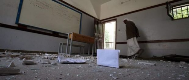 A classroom in Sana'a, heavily damaged during an air strike that hit the building next to the school. Photo: UNICEF/ Mohammed Mahmoud