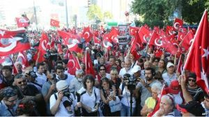 Crowds have also gathered in Turkey