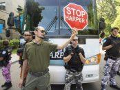 protestors to stop Stephen Harper in Montreal