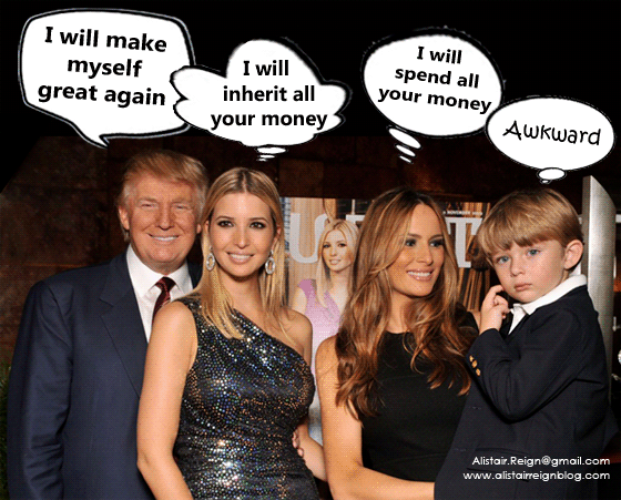 Donald lookslecherous standingnext to his beautiful daughter and trophy wife. alistairreignblog.com