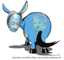 Trump and Hillary as one silly donkey