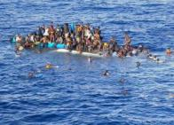 Capsized migrant ship