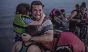 Kurdish man with two children