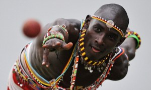 Ripped: The Maasai Warriors look to be enjoying every minute that they are out on the cricket pitch