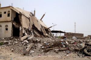 Three bombs hit a building housing a restaurant and sweet shop in the middle of Shagia market in the town of Zabid on May 12, 2015. This airstrike, and another minutes later on a neighboring lemon grove, killed at least 60 civilians.