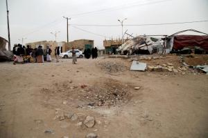 Jawb market outside the town of Amran was hit by a bomb on July 6, 2015, minutes after a bomb struck nearby Bawn market, killing at least 19 civilians and damaging a gas station, a car outside the local mosque, and the home of Mansour Ahmed Taqi. © 2015 Ole Solvang/Human Rights Watch