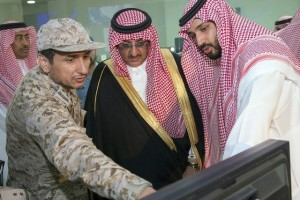 Saudi defence minister Mohammed bin Salman bin Abdul Aziz (R) and interior minister Mohammed bin Nayef bin Abdul Aziz (C) meet with Saudi airforce officers in Riyadh to discuss plans for the coalition's military operations in Yemen. Saudi Press Agency/Handout/AFP Photo