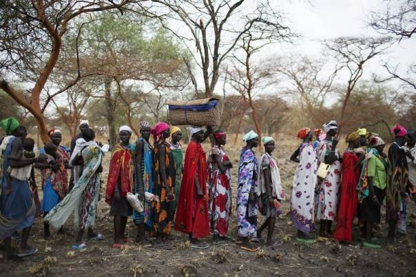 Women are screened for malnutrition at a joint UNICEF-WFP Rapid Response Mission (RRM), which delivers critical supplies and services to those displaced by conflict, in Nyanapol, northern Jonglei, March 3, 2015. REUTERS/Siegfried Modola