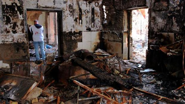 This picture shows the damaged MSF hospital in Kunduz, Afghanistan, which came under fire by a US AC-130 gunship on October 3, 2015. (Photo by AFP)