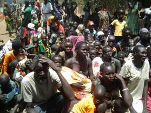 Newly arrived refugees from South Sudan at Ethiopia's Pagak entry point in Gambella in April 2015.