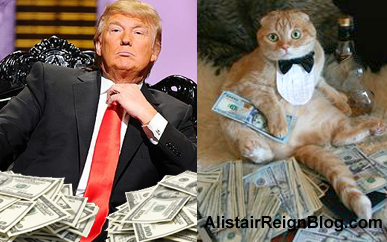 Donald Trump and Farthington Fat Cat. alistairreignblog.com