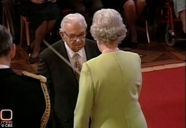 Recognized: He was knighted by Queen Elizabeth in 2002 (pictured) and has been the subject of a film. Next month, his daughter is releasing a book about her father. (Credit: Daily Mail UK). - (Alistair Reign News Blog: www.AlistairReignBlog.com).