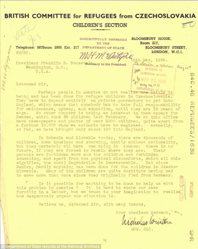 Found: A letter dated 1939 and written to President Franklin D. Roosevelt has been found in the National Archives. It asks the U.S. for help granting refuge to European children. (Credit: Daily Mail UK). - (Alistair Reign News Blog: www.AlistairReignBlog.com).