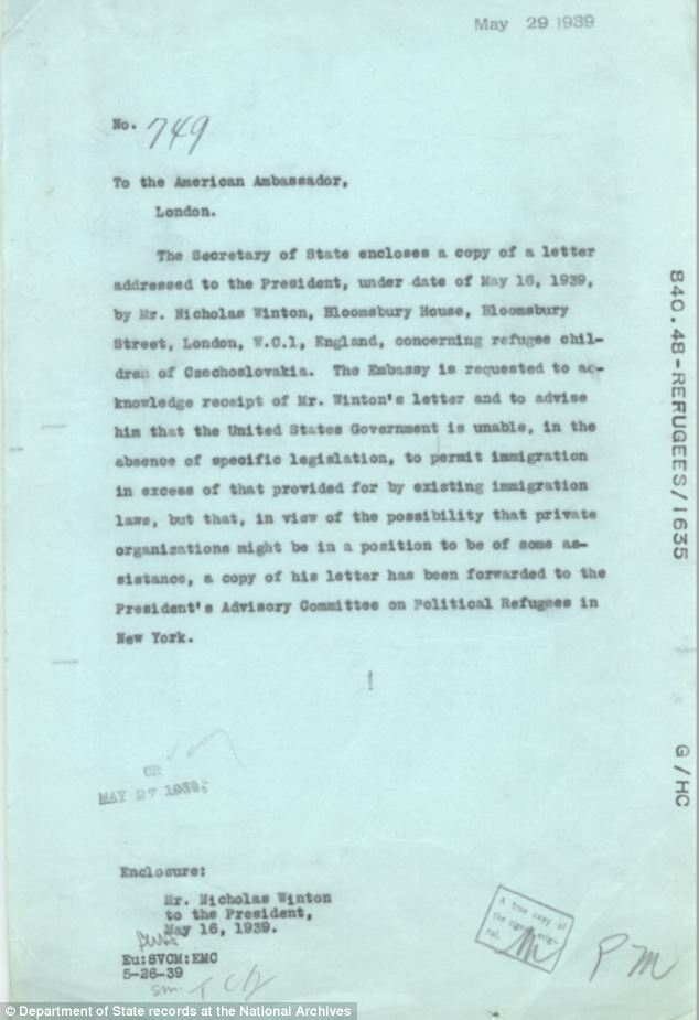 Questions: Archives show that the letter was passed on to U.S. officials for a decision on what to do. (Credit: Daily Mail UK). - (Alistair Reign News Blog: www.AlistairReignBlog.com).