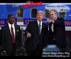 GOP Caption winner first place on AlistairReignBlog.com  Jeb: Doners... 3rd row... 4th seat.