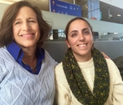 UNHCR's Melissa Fleming (left) with Syrian refugee Nahed Mir Ali, who trekked across Hungary on foot before taking a train to Vienna. (Photo: UNHCR).