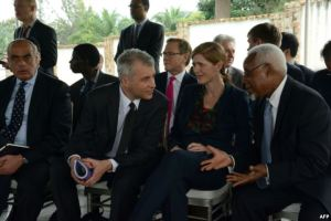 U.S. ambassador to the United Nations Samantha Power, second right, speaks with other U.N. Security Council ambassadors during a meeting with the Burundian president at his residence outside Bujumbura, Jan. 22, 2016.