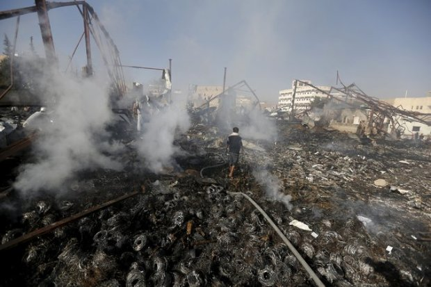 The aftermath of a Saudi-led air strike in Sana, Yemen, on Sunday. Credit Khaled Abdullah/Reuters