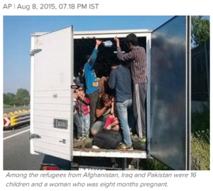 Austrian police who stopped a small truck that appeared overloaded have found 86 refugees crammed inside during sweltering heat.(Photo: Times of India).