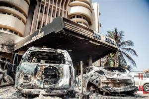The aftermath of a deadly al Qaeda assault on the Splendid Hotel, Ouagadougou, Burkina Faso, Jan. 18. PHOTO:OUTER ELSEN/EUROPEAN PRESSPHOTO AGENCY