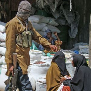 Al-Shabaab gunmen patrol a market in Mogadishu, Somalia, June 2009. (Photo: Mustafa Abdi/AFP/Getty).