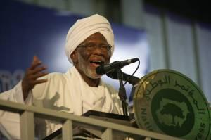 Hassan al-Turabi, a leading Islamist ideologue, gives a speech in Khartoum, Sudan, 2014. (Photo: M. Nureldin Abdallah/ Reuters).
