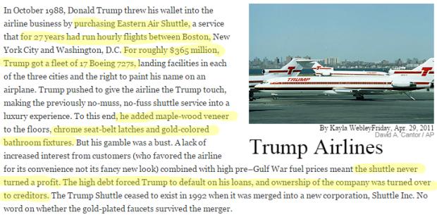 Donald Trump Failures trump airline