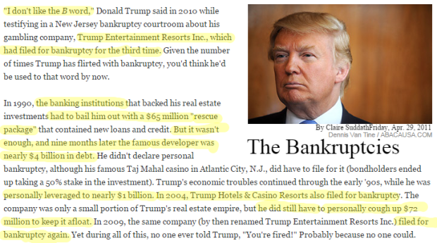 Donald Trump Failures trump bankruptcies