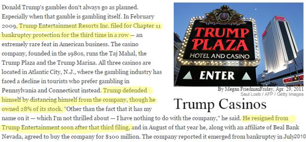 Donald Trump Failures trump casinos