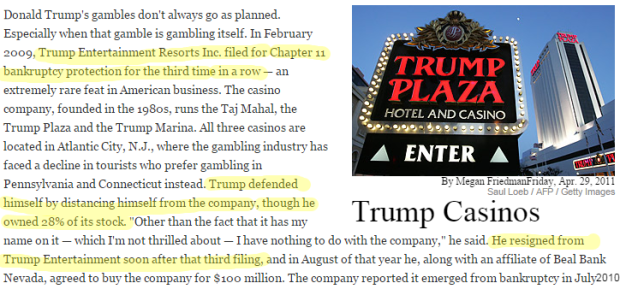 Donald Trump Failures trump casinos