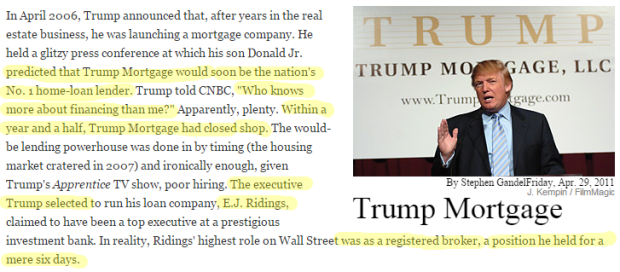 Donald Trump Failures trump mortgage