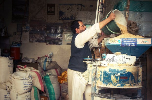 "One of the grain grinders in town is about to shut down due to the absence of electricity and fuel. ""This should be the busiest time of the year as the holy month of Ramadan is approaching and people rush to grind their flour!"" he says. ""I keep turning people away and you can imagine how my income has been affected."" (Photo/ quote: Thana Faroq)."