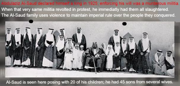 Inside Saudi Arabia Butchery Slavery History of Revolt Empire. The al-Saud family portrait with 20 of his children.