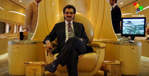 KSA: Prince Al-Waleed Bin Talaal Bin Abdulaziz Al Saud aboard one of his personal jets.