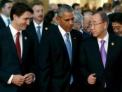 Prime Minister Justin Trudeau, U.S. President Barack Obama and United Nations Secretary-General Ban Ki-moon walk together to participate in a family photo with fellow world leaders at the start of the G20 summit. (Photo: JONATHAN ERNST / REUTERS)