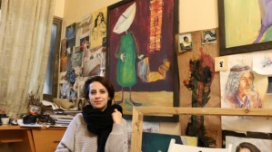 Majdal Nateel, 28, a Palestinian artist, in her studio in Gaza. (Photo: Palestine.com) (Alistair Reign News Blog www.AlistairReignBlog.com).