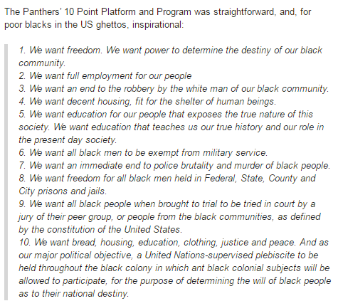 The Black Panther Party's Point Platform and Program.