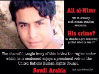 His case follows that of Ali al-Nimr who faces a sentence of 'crucifixion' – involving beheading and the public display of his body – for his role in protests in 2012 when he was only 17-years-old.