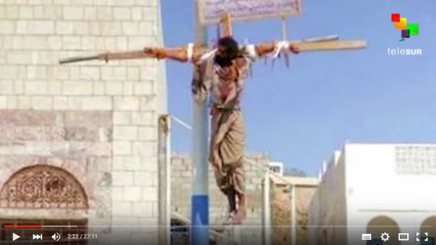 Inside Saudi Arabia: Butchery, Slavery and History of Revolt. Photo reveals what a crucifixion looks like in Saudi Arabia.