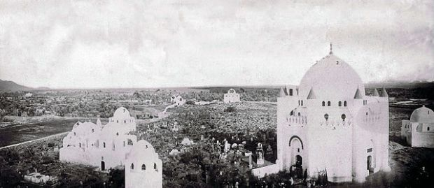 Jannatul-Baqi before the Saudi occupation and destruction of the holy ground. In the year 1806, the radicalized Wahhabi militia, at Abdul Aziz ibn Saud's command, entered Madina, where they razed to the ground every mosque they came across, including desecration of the holy burial grounds of Al-Baqi, where the domes and markers of great Islamic personalities and holy persons were flattened into an anonymous field, leaving no sign of a single grave or tomb.