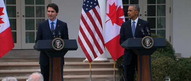 """No two nations agree on everything,"" Obama said during a morning news conference in the White House Rose Garden. ""Our countries are no different, but in terms of our interests and values and how we approach the world, few countries match up the way the United States and Canada do."""