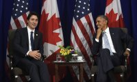Canadian prime minister, Justin Trudeau (left) with US president, Barack Obama. The visit is seen as an important moment for Trudeau to break with the record of his Conservative predecessor. Photograph: Susan Walsh/AP