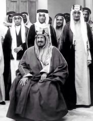 King Abdulaziz Al-Saud of Saudi Arabia with some of his sons.