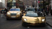 Super rich Saudis arrive in new yourk in fleet of gold cars. (March 30, 2016).