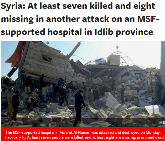 MSF article published on February 14, 2016. Syria At least seven killed and eight missing in another attack on an MSF supported hospital in Idlib province Doctors Without Borders Canada Médecins Sans Frontières MSF Canada