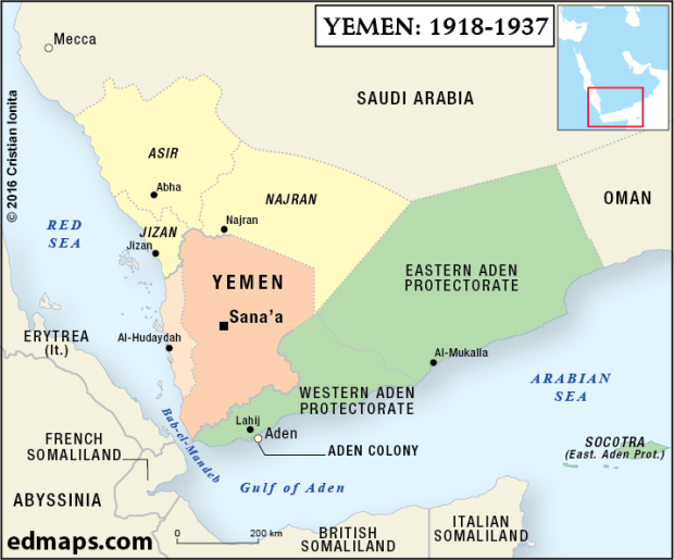 Geopolitics: The Yemeni Crisis In Five Map.: 1918-1937 . Their resource website contains maps that are designed to be useful to students, teachers and general enthusiasts in the study of History, Geopolitics and International RelationsGeopolitics: The Yemeni Crisis In Five Map.: 1918-1937 . Their resource website contains maps that are designed to be useful to students, teachers and general enthusiasts in the study of History, Geopolitics and International Relations All the maps available on edmaps.com have been created by Dr. Cristian Ionita, a Canadian historian and cartographer from Montreal. The following is a report from The World On The Map outlining the surmounting conflict in Yemen, beginning in the early 1800's up to the current dire humanitarian crisis faced by the besieged Yemenis.
