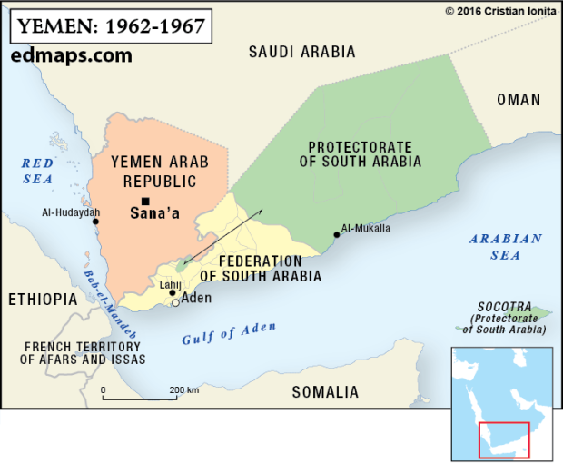 Geopolitics: The Yemeni Crisis In Five Map. (1962_1967) In 1958, the Kingdom of Yemen joined the United Arab Republic (a union between Egypt and Syria) in a loose confederation named the United Arab States. In 1961 the confederation has been dissolved. In 1962, a republican coup d'État established the Yemen Arab Republic and marked the beginning of a long civil war (1962-1970).